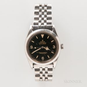 "Early Rolex Glossy Black Dial ""Explorer"" Reference 1016 Wristwatch"
