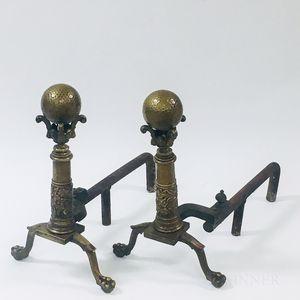 Pair of Beaux Art Ball-top Brass Andirons