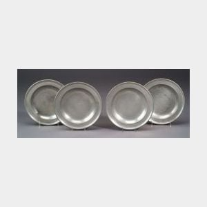 Matched Set of Four Pewter Deep Dishes