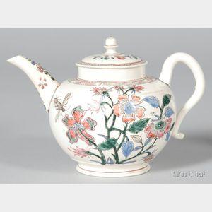 Staffordshire White Saltglazed Stoneware Teapot and Cover