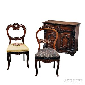 Victorian Rococo Revival Rosewood Cabinet and Two Victorian Rococo Revival Mahogany Side Chairs