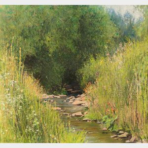 Robert E. Moore (American, 1956-2003)      Rocky Stream with Spring Flowers