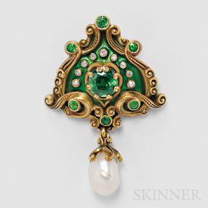 Sold for: $17,220 - Art Nouveau 18kt Gold, Demantoid Garnet, and Pearl Pendant/Brooch, Marcus & Co.