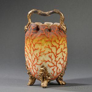 Coralene and Satin Glass Handled Vessel