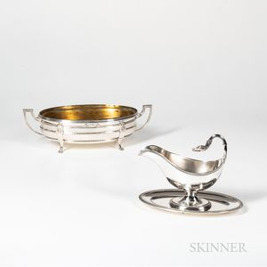 French .800 Silver Center Bowl and Sterling Silver Sauceboat