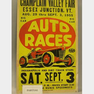 Three 1950s Auto and Motorcycle Racing Posters and Two WWI Liberty Bond Posters.