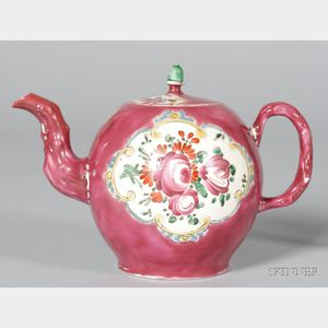 Staffordshire Pink Ground Saltglazed Stoneware Teapot and Cover