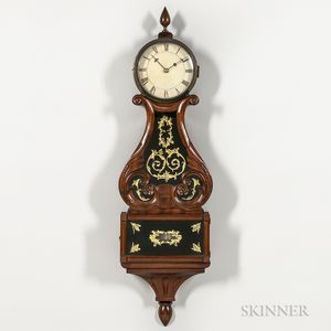 """Carved Mahogany """"Harp-pattern"""" or Lyre Clock"""