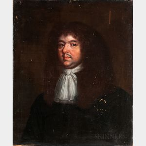 Dutch School, 17th/18th Century    Bust-length Portrait of a Man in a Brown Wig and Knotted White Neck Scarf