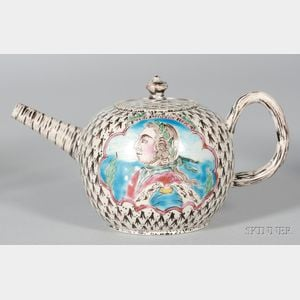 Staffordshire White Saltglazed Stoneware King of Prussia Teapot and Cover