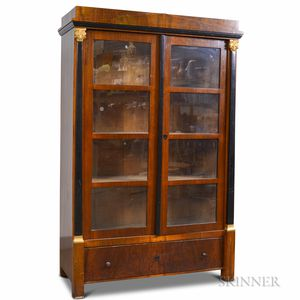 French Empire-style Glazed Mahogany Veneer Two-door Bookcase