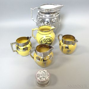 Six Silver Lustre Ceramic Tableware Items