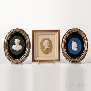 Three Wedgwood Jasper Portrait Medallions