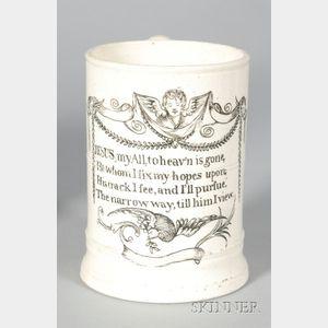 Staffordshire White Saltglazed Stoneware Motto Mug