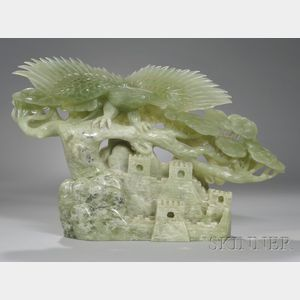 Asian Carved Hardstone Eagle Figural Group