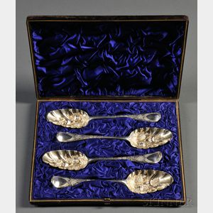 Set of Four English Sterling Silver Fruit Servers