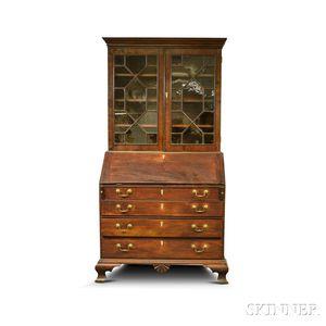 Chippendale Glazed Mahogany Desk/Bookcase