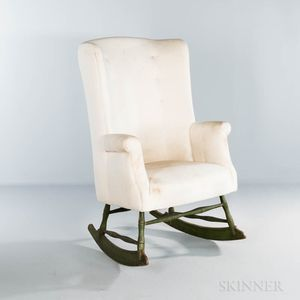 Green-painted Make-do Upholstered Windsor Rocking Easy Chair