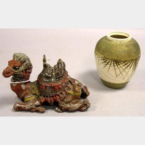 Cold Painted Cast Metal Camel Figural Inkwell and a Rilti Aesthetic Porcelain Jar.