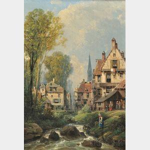 Charles Euphrasie Kuwasseg (French, 1838-1904)      Town View Beside a Brook