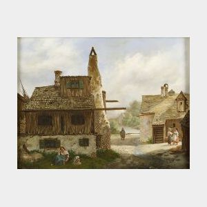 Attributed to Caroline Keron (Flemish, 19th/20th Century)  Lot of Two Landscapes:  A Rest from Labors