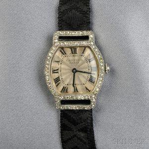 Art Deco Platinum, 18kt Gold, and Diamond Wristwatch, Cartier