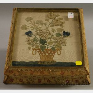 19th Century Cloth-clad Wooden Sewing Box with Floral Needlework Panel-inset Lid