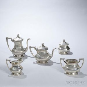 Five-piece Dominick & Haff Sterling Silver Tea and Coffee Service