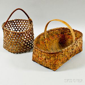 Two Small Woven Splint Handled Baskets