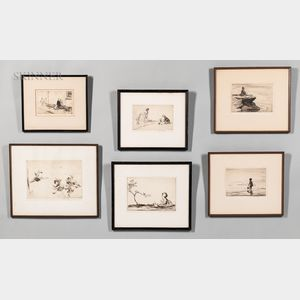 Eileen Alice Soper (British, 1905-1990) Six Framed Etchings: The Hurt Paw, Adversity, The Explorer, Flying Swings, The Mighty Atom, and
