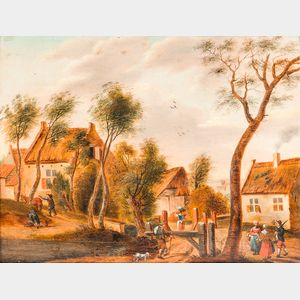 Dutch School, 17th Century Style      Village Scene with Figures
