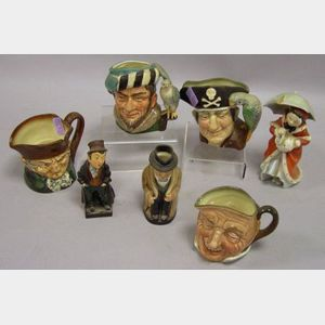 Five Royal Doulton Ceramic Toby Jugs and Two Figures