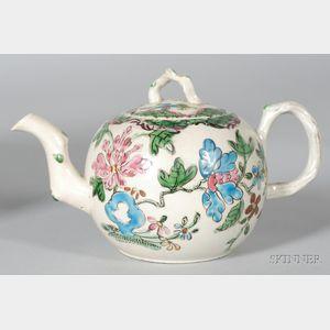 Small Staffordshire White Saltglazed Stoneware Teapot and Cover