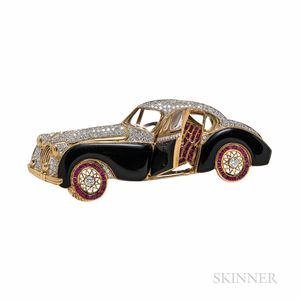 Gold, Onyx, Ruby, and Diamond Automobile Brooch
