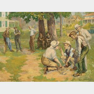 Alfred James Dewey (American, 1874-1958)      A Dispute Over Horseshoes