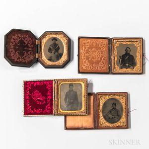 Four Civil War Tintype Images of Cavalrymen