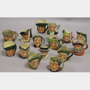 Collection of Fifteen Small Royal Doulton Ceramic Toby Jugs.