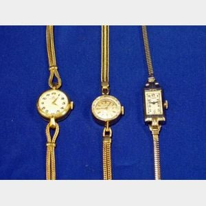 Three 14kt Gold Lady's Wristwatches
