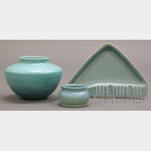 Three Pieces of Glazed Art Pottery