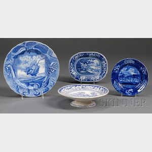 Four Blue Transfer-decorated Staffordshire Pottery Dishes