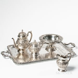 Four Pieces of Repousse-decorated Sterling Silver