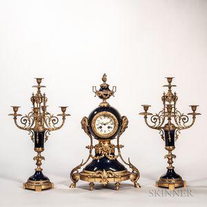 Louis XVI-style Three-piece Clock Garniture