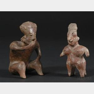 Two Western Mexico Pre-Columbian Pottery Figures