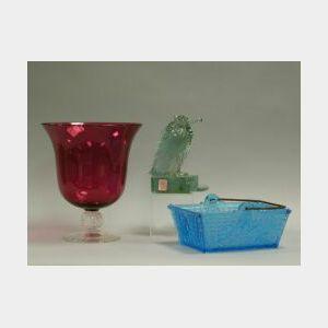Cranberry Glass Vase, Blue Pattern Glass Basket, and a Union Glass Aqua Bird.