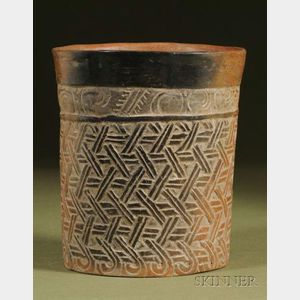 Pre-Columbian Carved Pottery Cylinder