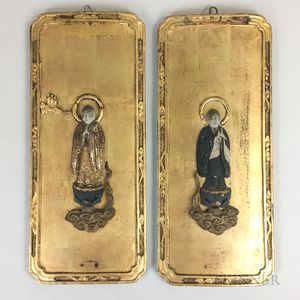 Pair of Gold-lacquered Wood Panels