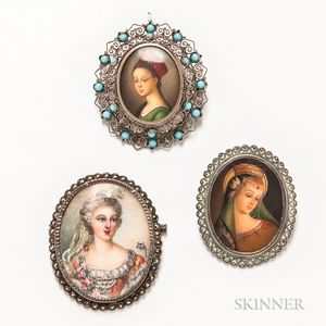 Three Painted Portrait Brooches