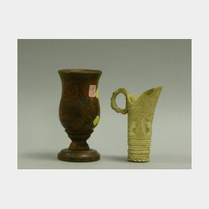 Carved Ivory Ewer and a Pitcairn Island Turned Wooden Chalice.