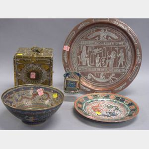 Five Asian Decorative Items and an Egyptian Silver Inlaid Brass Tray
