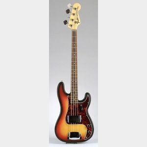 American Solid Body Electric Bass Guitar, Fender Musical Instruments,   Model Precision Bass, 1969